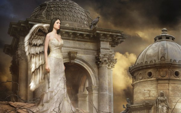 Fantasy Angel Wings Cemetery White Dress HD Wallpaper | Background Image