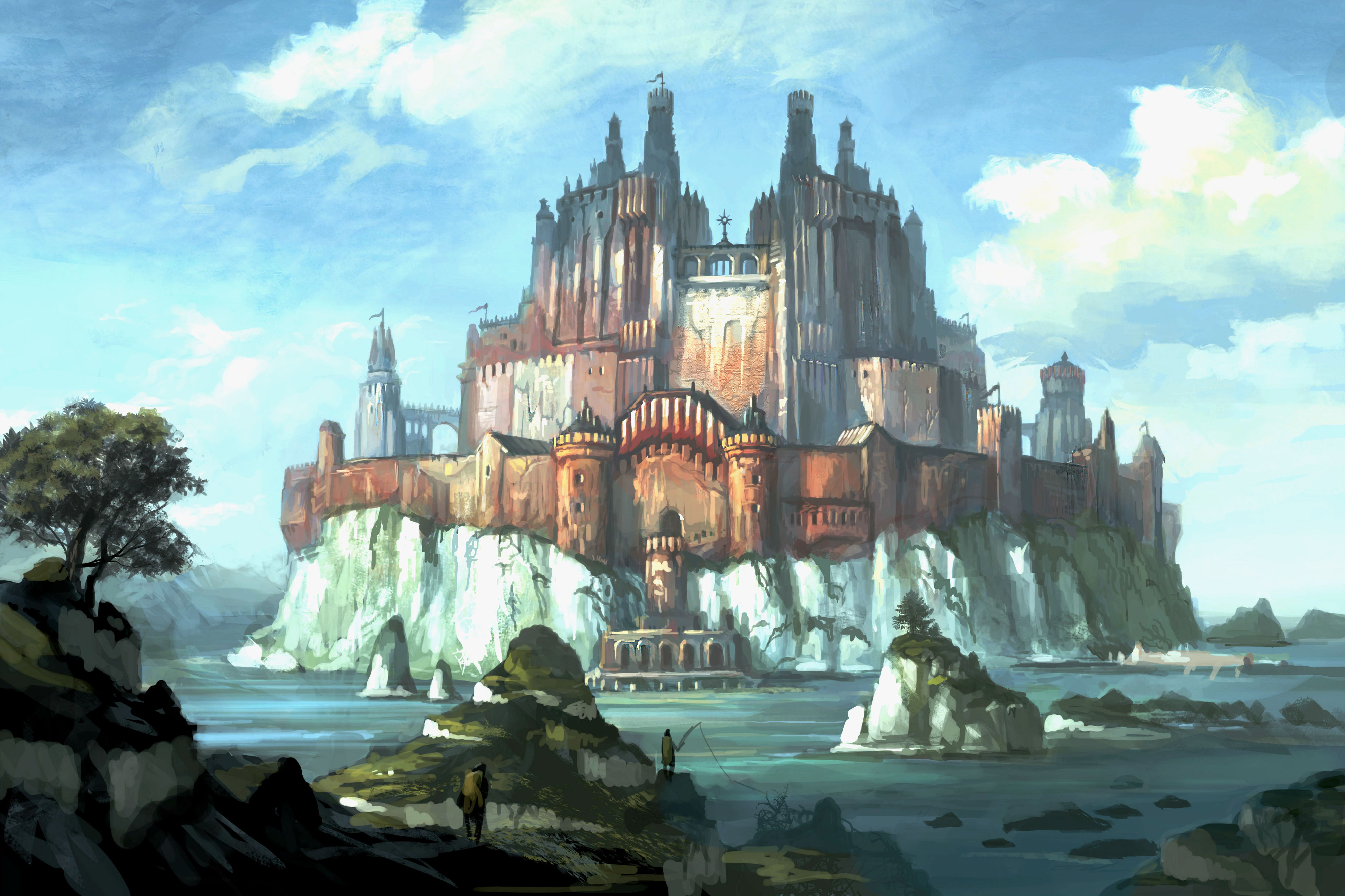 Fantasy - Castle  City Scenic Wallpaper