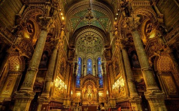 Religious Basilica of Notre-Dame de Fourvière Basilicas  HD Wallpaper   Background Image