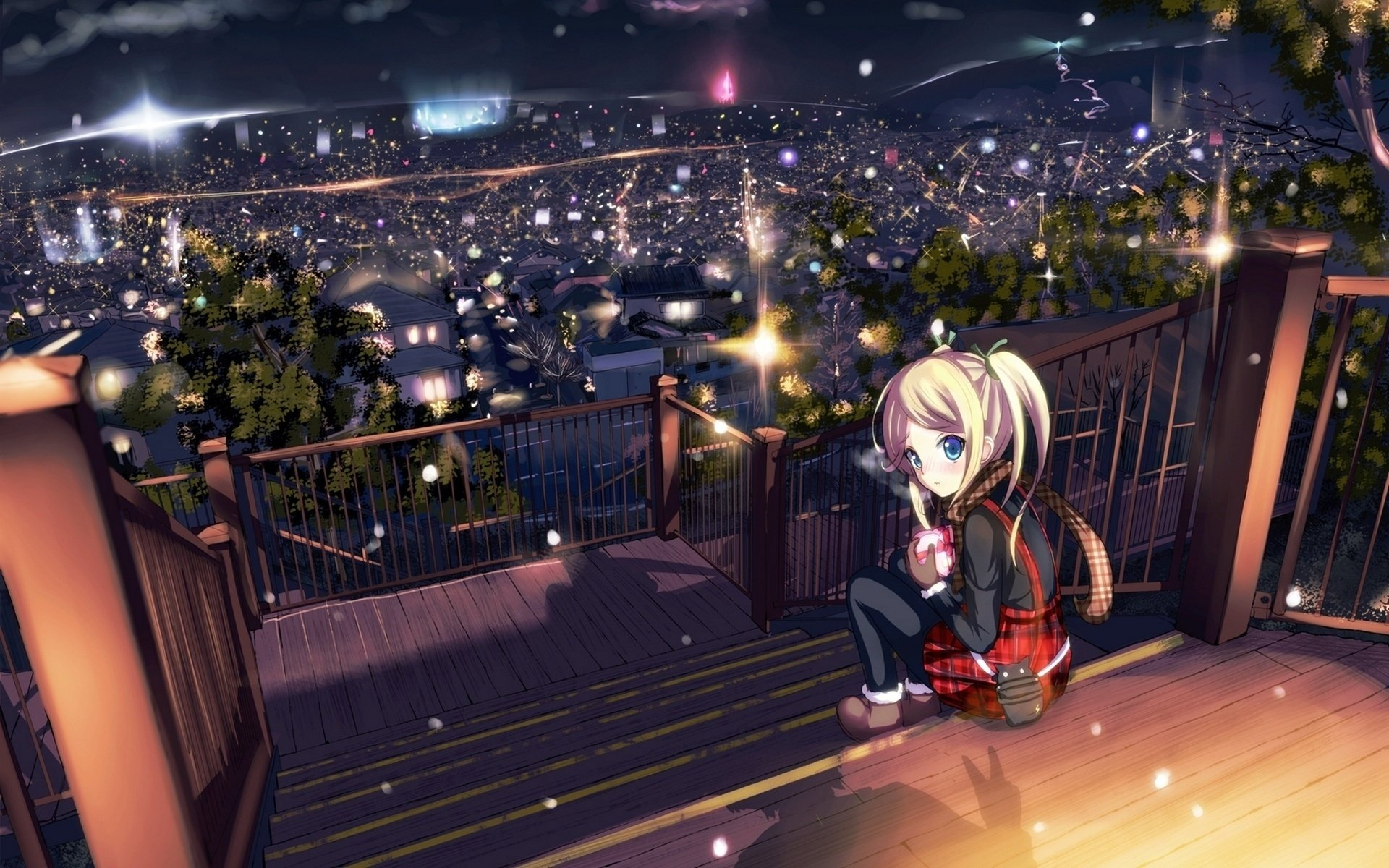 Anime - Original  Landscape City Sky Light Tree Fence Blonde Blue Eyes Gift Chocolate Valentine's Day Scarf Boots Morerin Snow Winter Cityscape Anime Original (Anime) Wallpaper