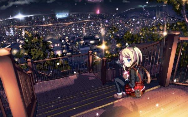 Anime Original Ciudad Luz Cerca Rubia Blue Eyes Regalo Día de San Valentín Scarf Cityscape Fondo de pantalla HD | Fondo de Escritorio