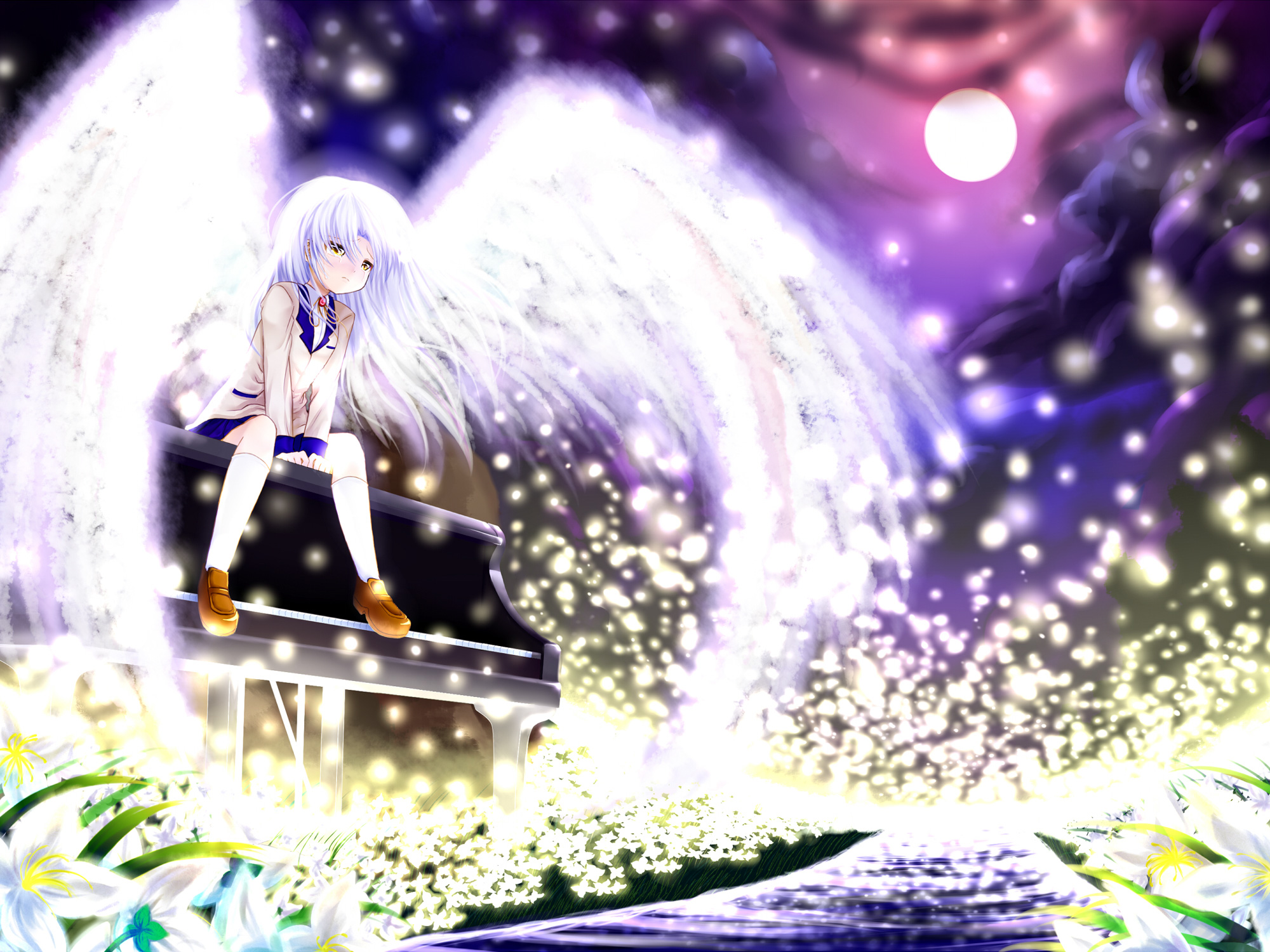 Angel beats full hd wallpaper and background image 2000x1500 anime angel beats angel wings moon flower kanade tachibana piano wallpaper voltagebd