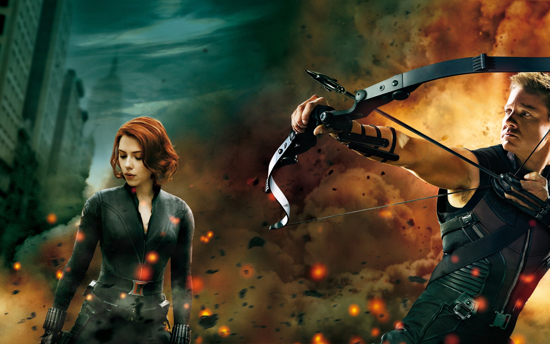 Movie - The Avengers  Hawkeye Black Widow Scarlett Johansson Jeremy Renner Natasha Romanoff Wallpaper
