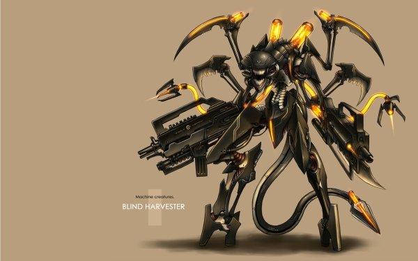 Anime pixiv: Moefication Of Chemicals Creature Robot Original Gia Moefication Blind Harvester HD Wallpaper | Background Image