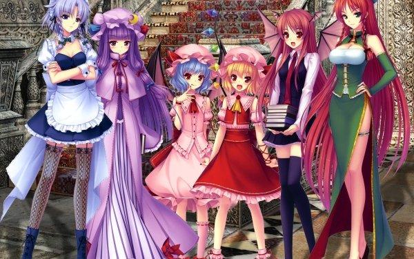 Anime Touhou Remilia Scarlet Flandre Scarlet Koakuma Hong Meiling Sakuya Izayoi Patchouli Knowledge HD Wallpaper | Background Image
