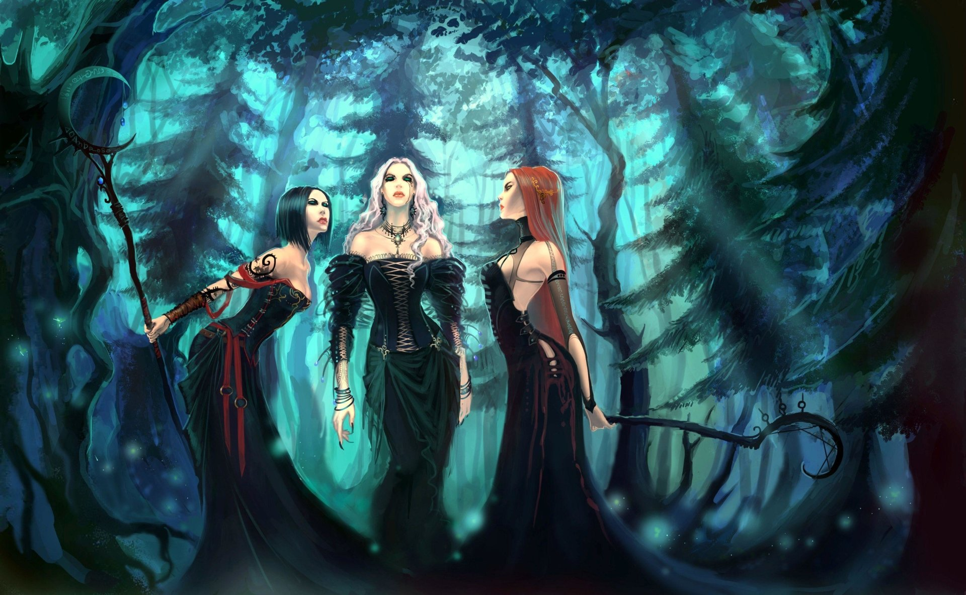 Fantasy - Witch  Fantasy Forest Dark Woman Staff Wallpaper