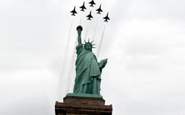 Military Air Show Military Aircraft Statue of Liberty Jet Fighter HD Wallpaper | Background Image