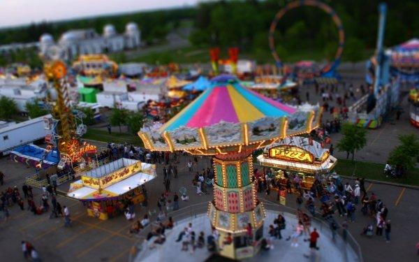 Photography Tilt Shift Amusement Park HD Wallpaper | Background Image