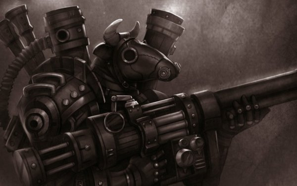 Sci Fi Warrior Bull Mehanic Robot HD Wallpaper | Background Image