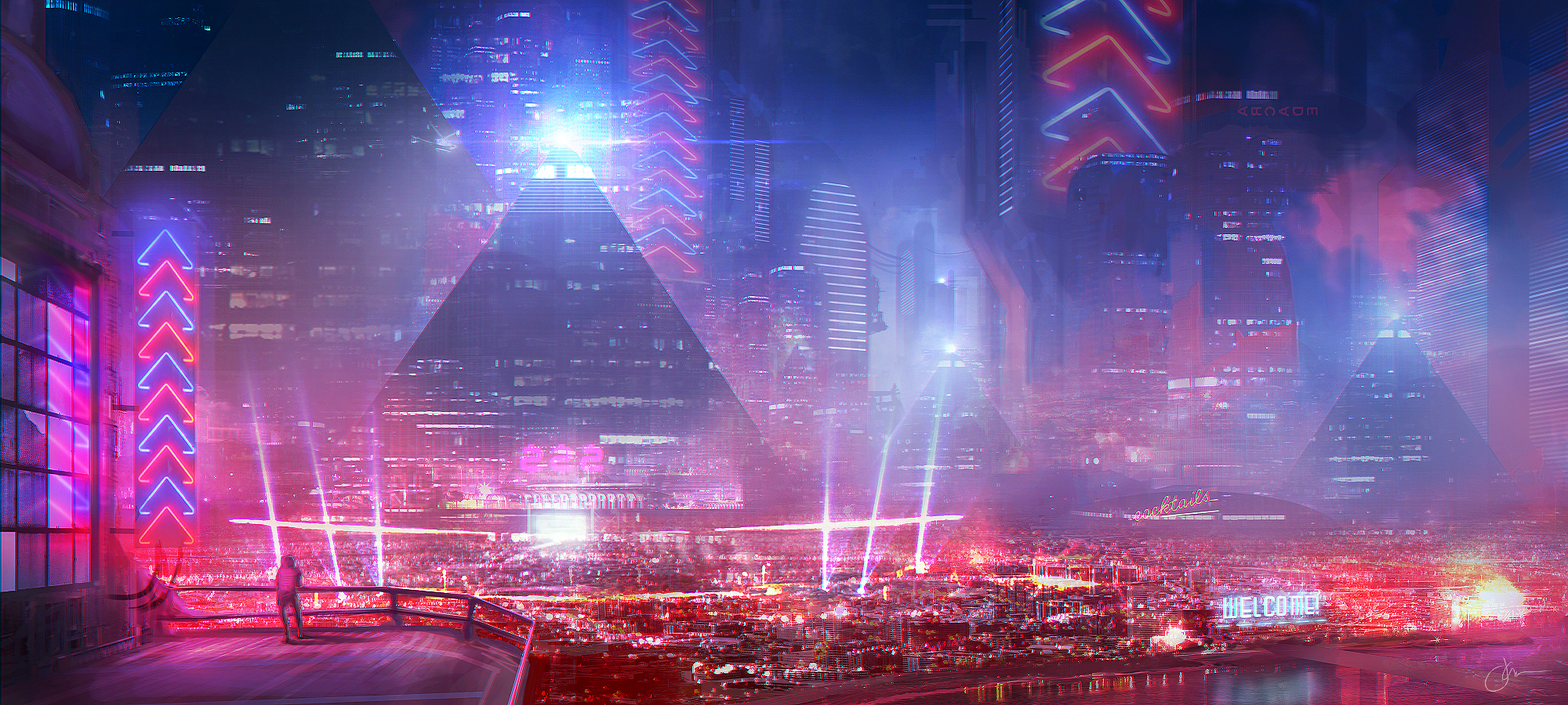 neon city Wallpaper and Background Image | 2000x900 | ID ...