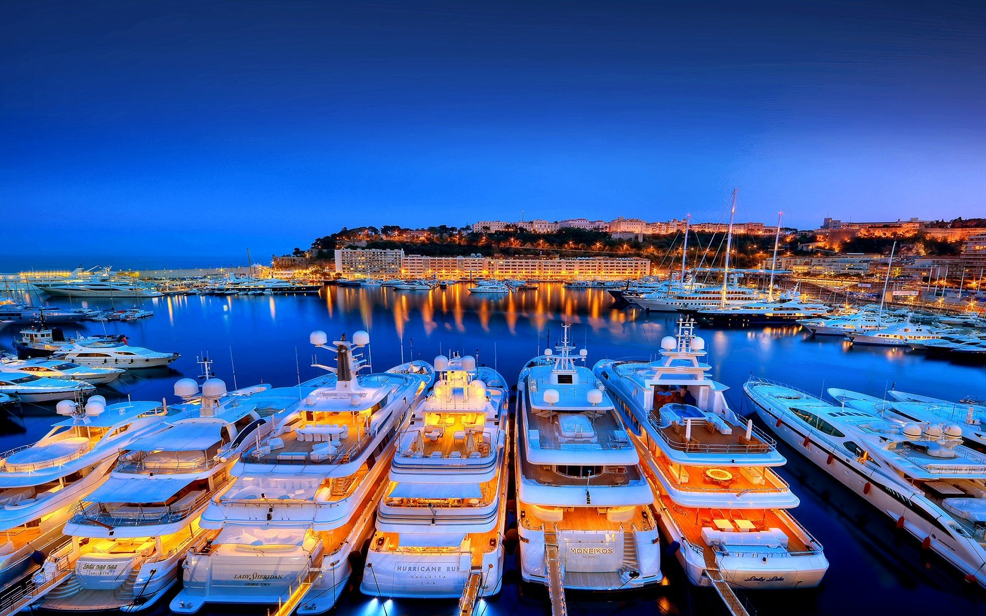 Man Made - Harbor  Reflection Yacht Monaco Hercule Azure Wallpaper