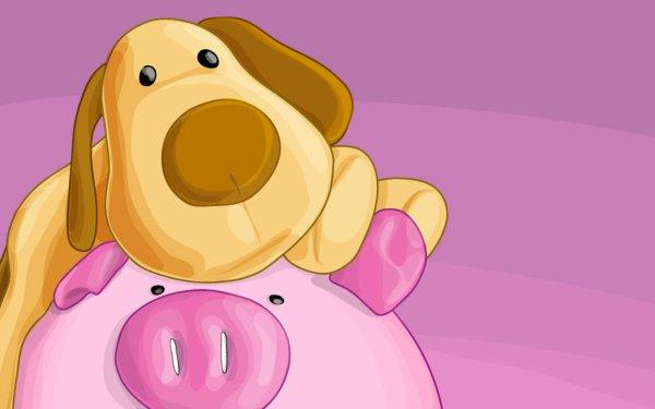 Animal Dog Dogs Pig Cartoon HD Wallpaper | Background Image