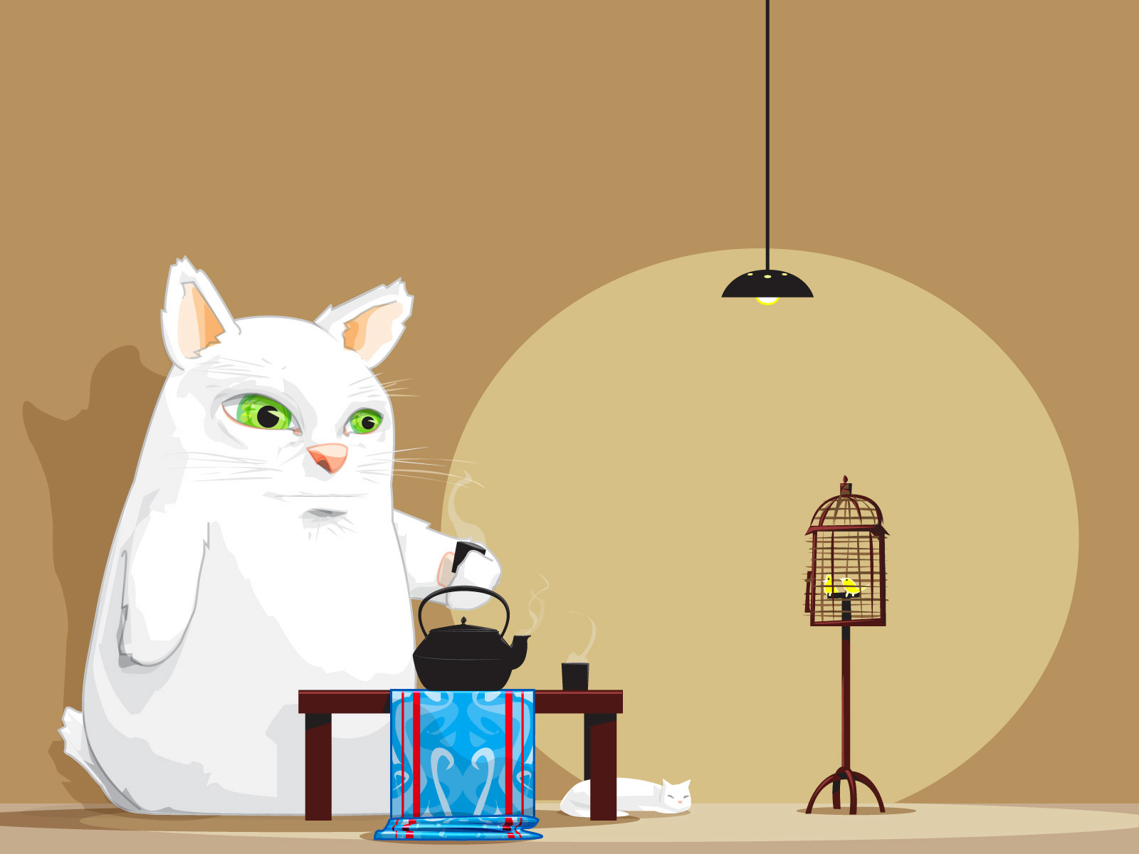 Artistic White Cat Having A Cup Of Tea Wallpaper And Background Image 1600x1200 Id 3922 Wallpaper Abyss