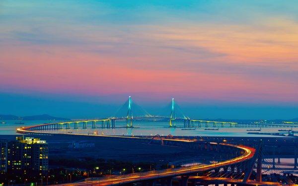 Man Made Incheon Bridge Bridges HD Wallpaper   Background Image