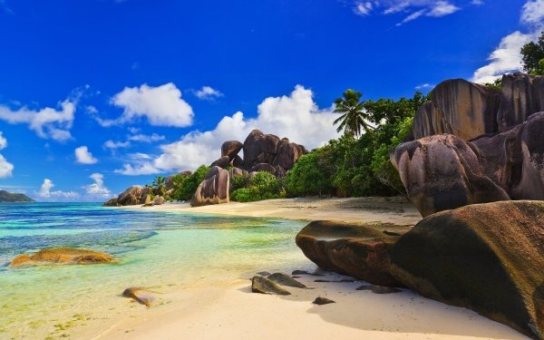 Tierra/Naturaleza Playa Cielo Orilla del mar Palmera Tropics Rock Sand Tropico Seychelles Agua Fondo de pantalla HD | Fondo de Escritorio