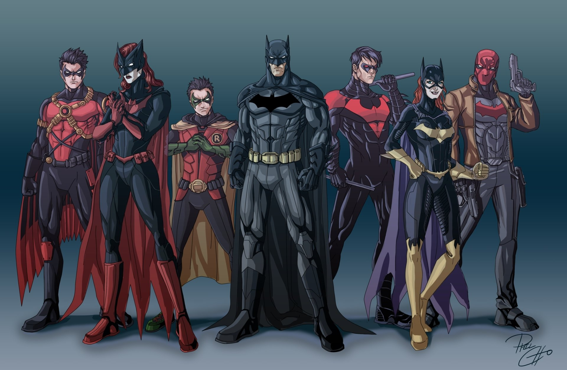 Comics - Batman  Robin (DC Comics) Batgirl Nightwing Batwoman Red Robin Red Hood The New 52 DC Comics Fondo de Pantalla