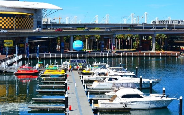 Man Made Darling Harbour Boat Marina Sydney Harbor Pier Australia Yacht Freeway Highway Taxi HD Wallpaper | Background Image