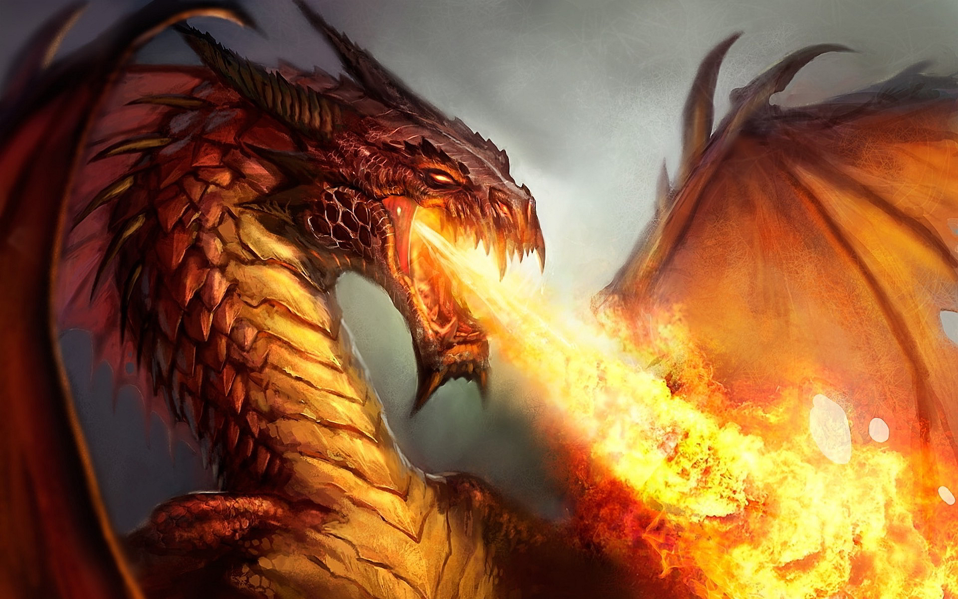 Download Wallpaper 1920x1080 Dragon, Fire, Sparkles, Mouth Full HD ...