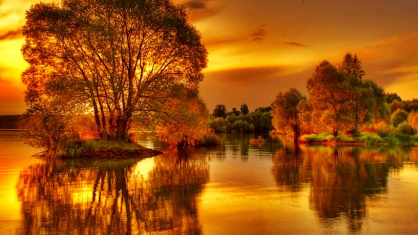 Photography - HDR  Earth Pond Sunset Wallpaper