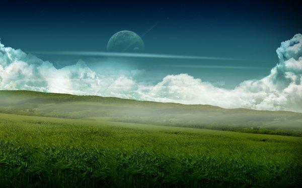 Tierra/Naturaleza Mundo de ensueño CGI Paisaje Hierba Hill Cielo Nube Planeta Luna Fondo de pantalla HD | Fondo de Escritorio