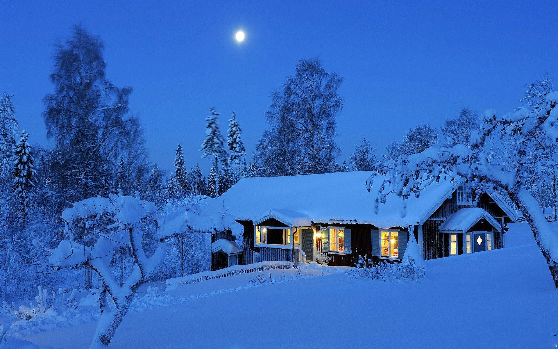 Photography - Winter  Cabin Night Snow Wallpaper