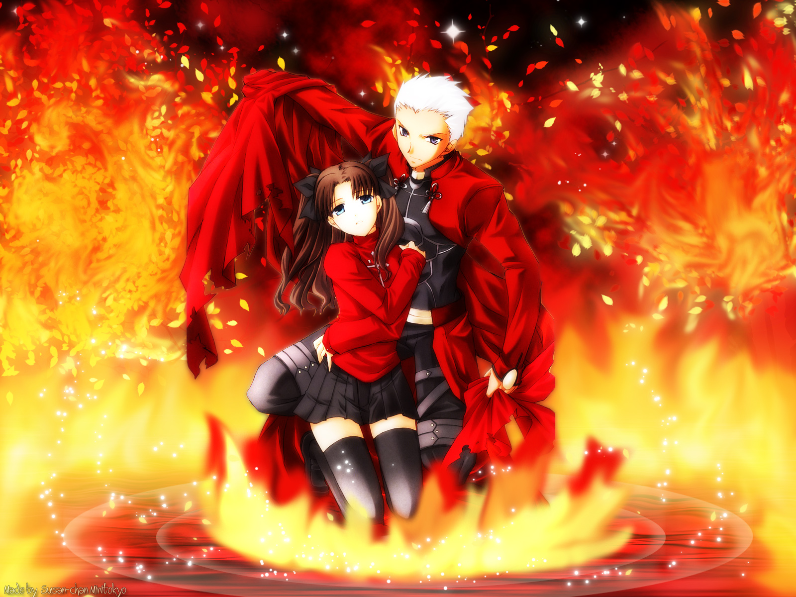 Anime - Fate/Stay Night  Archer (Fate/Stay Night) Rin Tohsaka Wallpaper