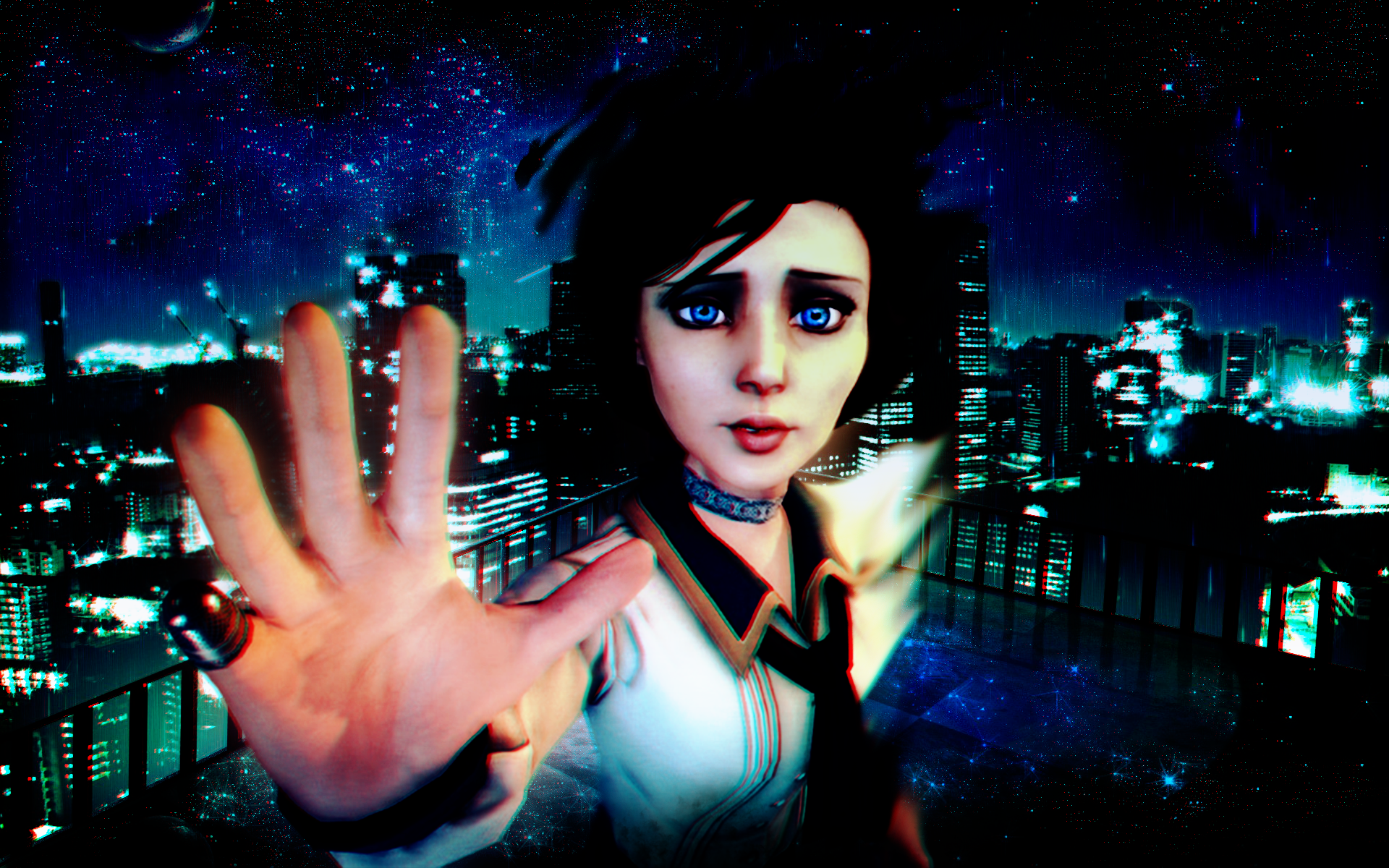 Video Game - Bioshock Infinite  Love Hand Shake Cold Eye Angel Blue Elizabeth (Bioshock Infinite) Infinite Bioshock Wallpaper