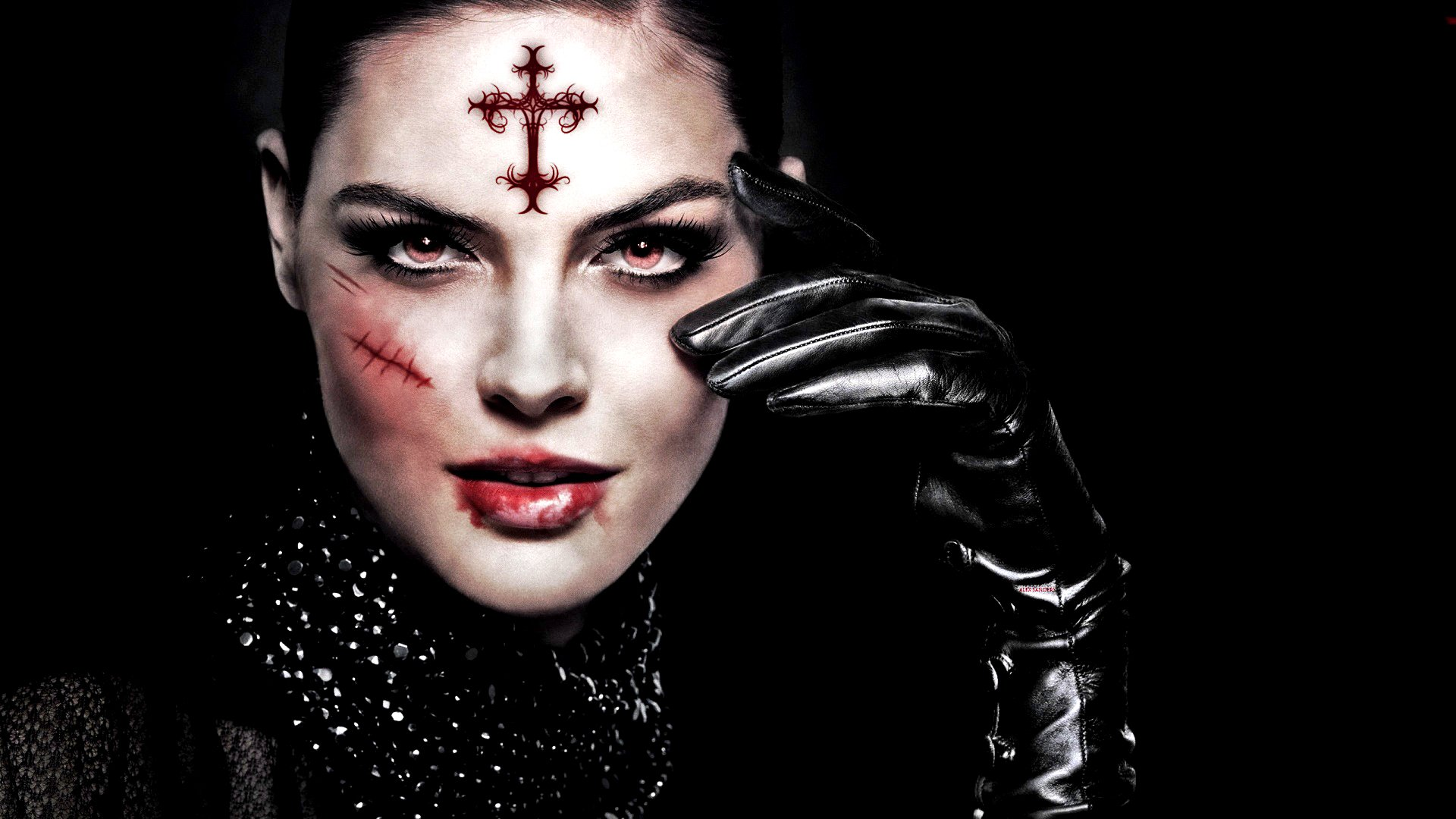 Dark - Occult  Dark Woman Face Blood Fantasy Gothic Scar Wallpaper