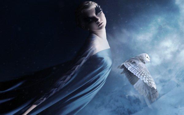Fantasy Women Owl HD Wallpaper | Background Image