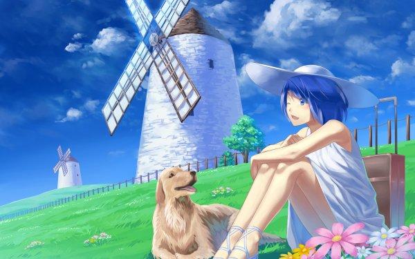Anime Girl Blue Hair Dog Windmill Blue Eyes Hat HD Wallpaper | Background Image