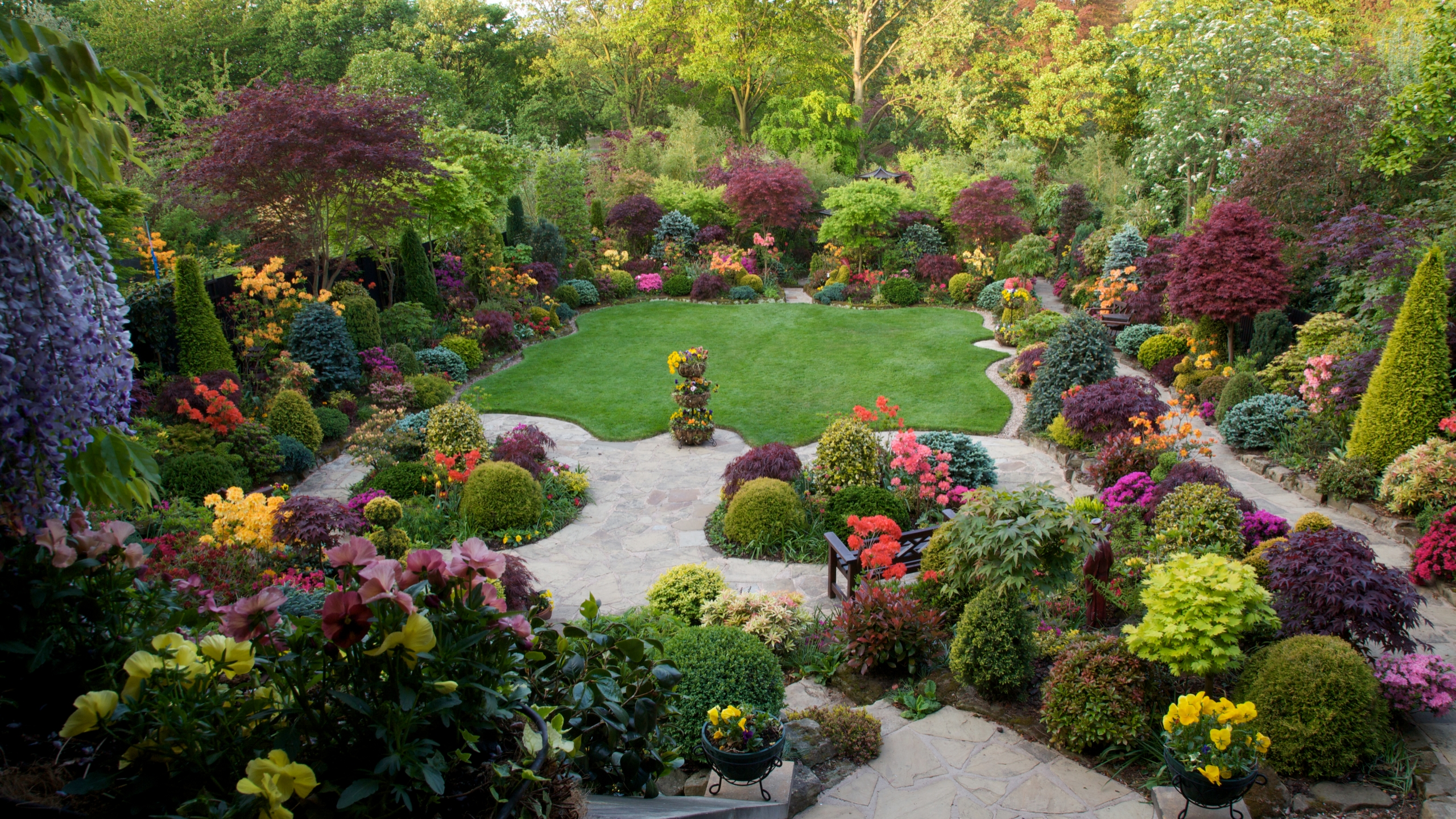 Garden hd wallpaper background image 2560x1440 id - Garden screensavers free ...