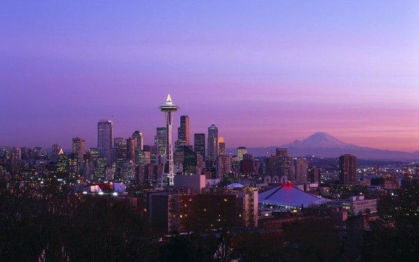 Man Made Seattle Cities United States Mount Rainier Washington Space Needle HD Wallpaper | Background Image