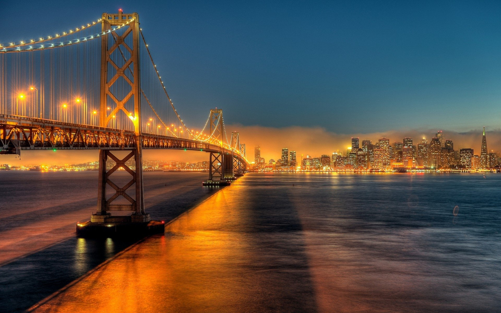 Man Made - Bay Bridge  Night City Bride California San Francisco Light River Wallpaper