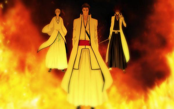 Anime Bleach Fuego Gin Ichimaru Sōsuke Aizen Kaname Tosen Fondo de pantalla HD   Fondo de Escritorio