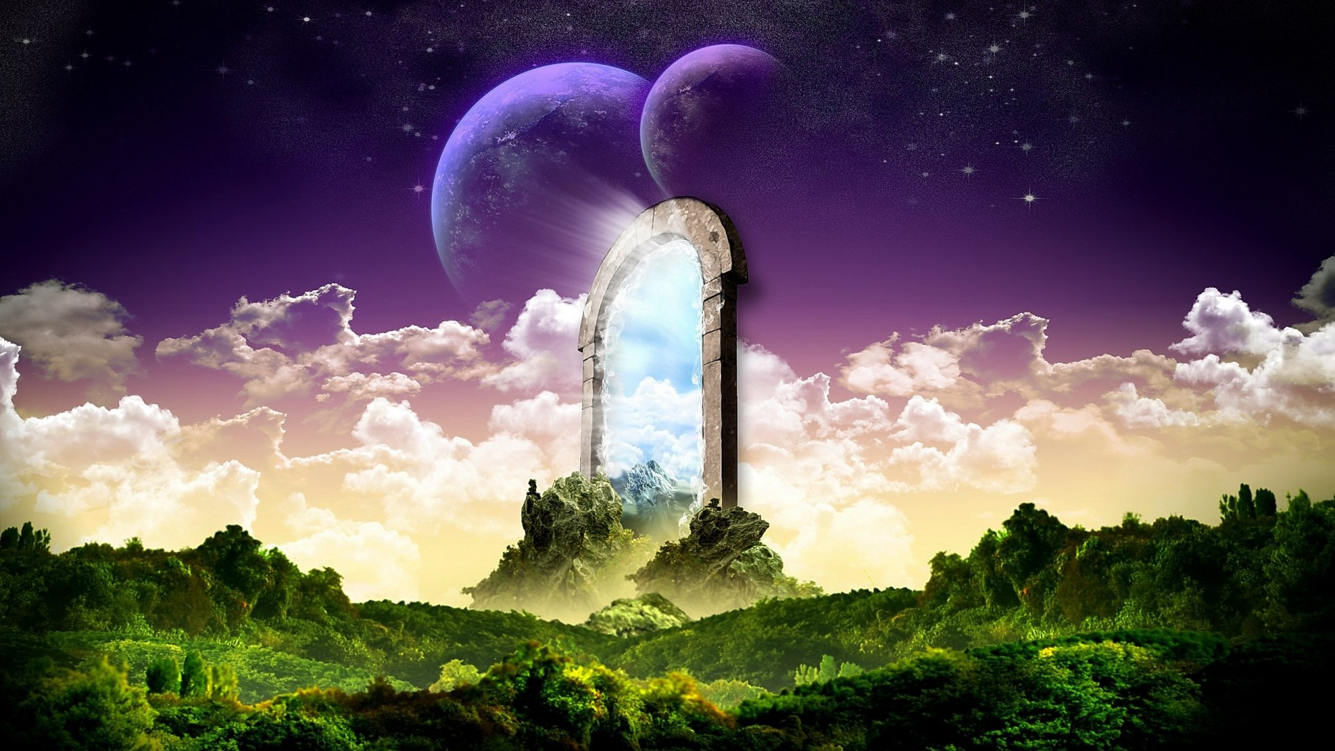 Fantasy - Landscape  Artwork Door Wallpaper