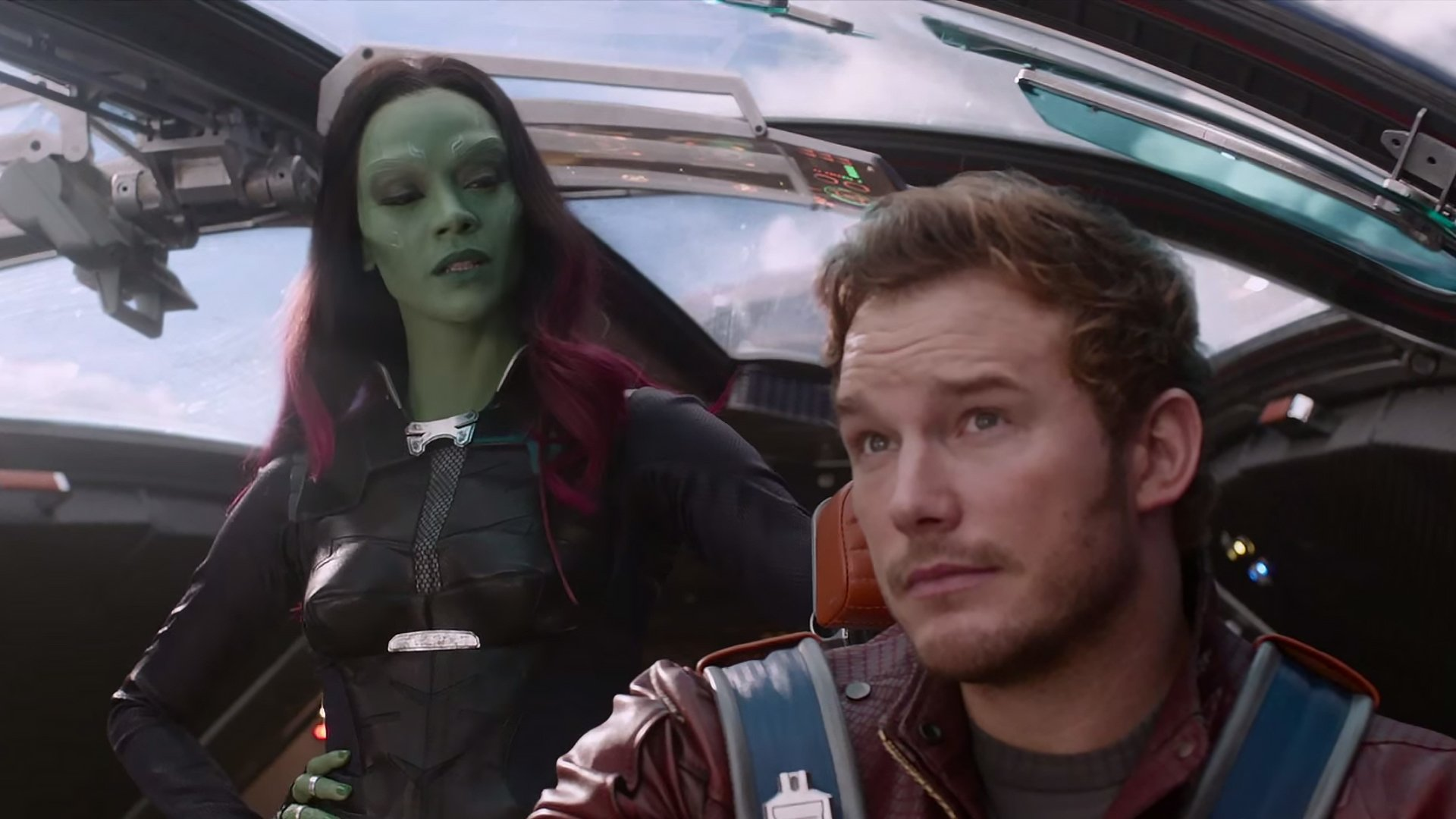 Movie - Guardians of the Galaxy  Gamora Zoe Saldana Chris Pratt Peter Quill Wallpaper