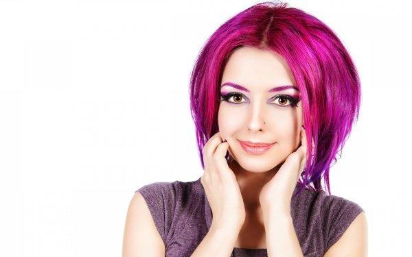 Women Face Model Crimson Hair HD Wallpaper | Background Image