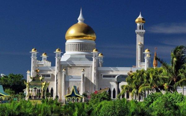 Religious Sultan Omar Ali Saifuddin Mosque Mosques Omar Ali Saifuddin Bandar Seri Begawan Brunei Building Mosque Palm Tree HD Wallpaper   Background Image