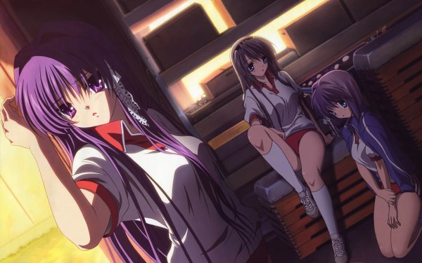 Anime Clannad Kyou Fujibayashi Ryou Fujibayashi Tomoyo Sakagami Sitting Shorts Socks HD Wallpaper | Background Image