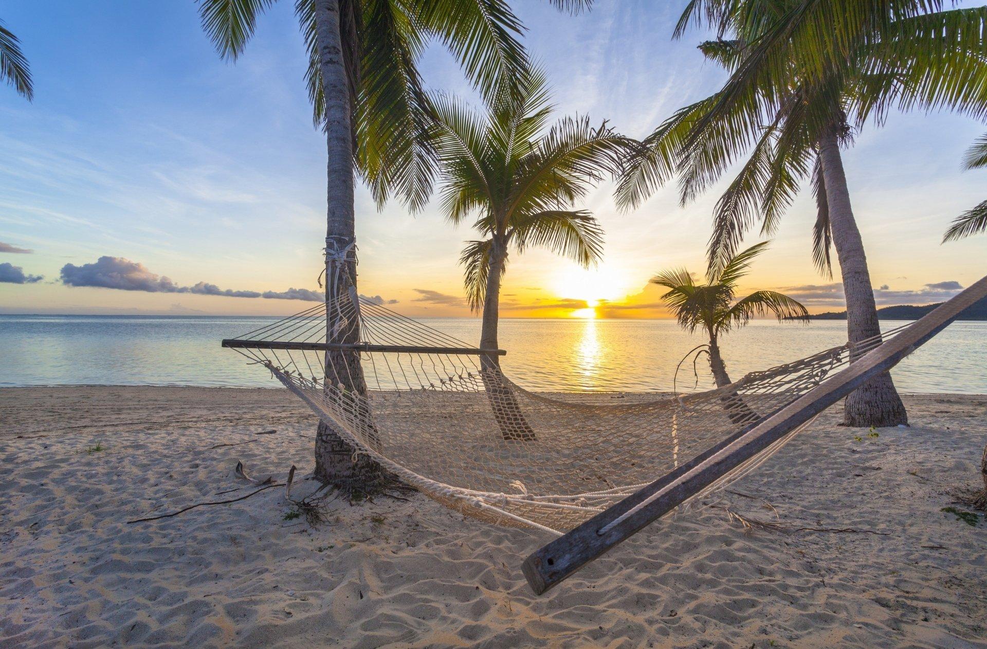 Construction Humaine - Hammock Tropics Palmier Coucher De Soleil Plage ...