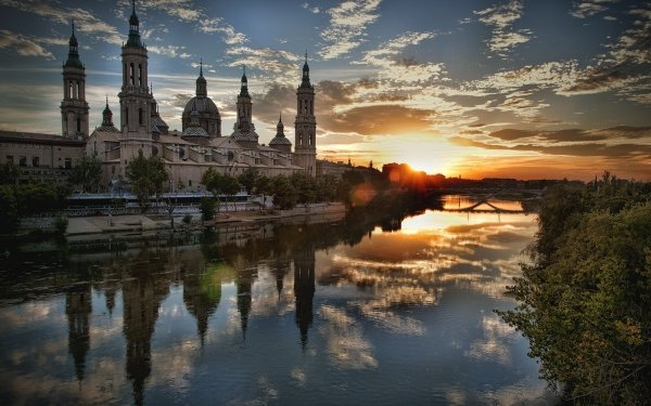 Religious Basilica of Our Lady of the Pillar Basilicas  Zaragoza Spain Sunset River HD Wallpaper   Background Image