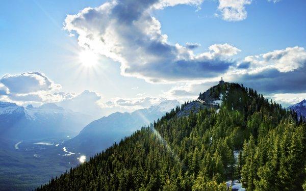 Earth Landscape Mountain Sulphur Mountain Canada Banff National Park Forest Cloud Sun Sunshine HD Wallpaper | Background Image