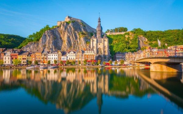 Man Made Dinant Towns Belgium Seascape Notre Dame de Dinant HD Wallpaper | Background Image