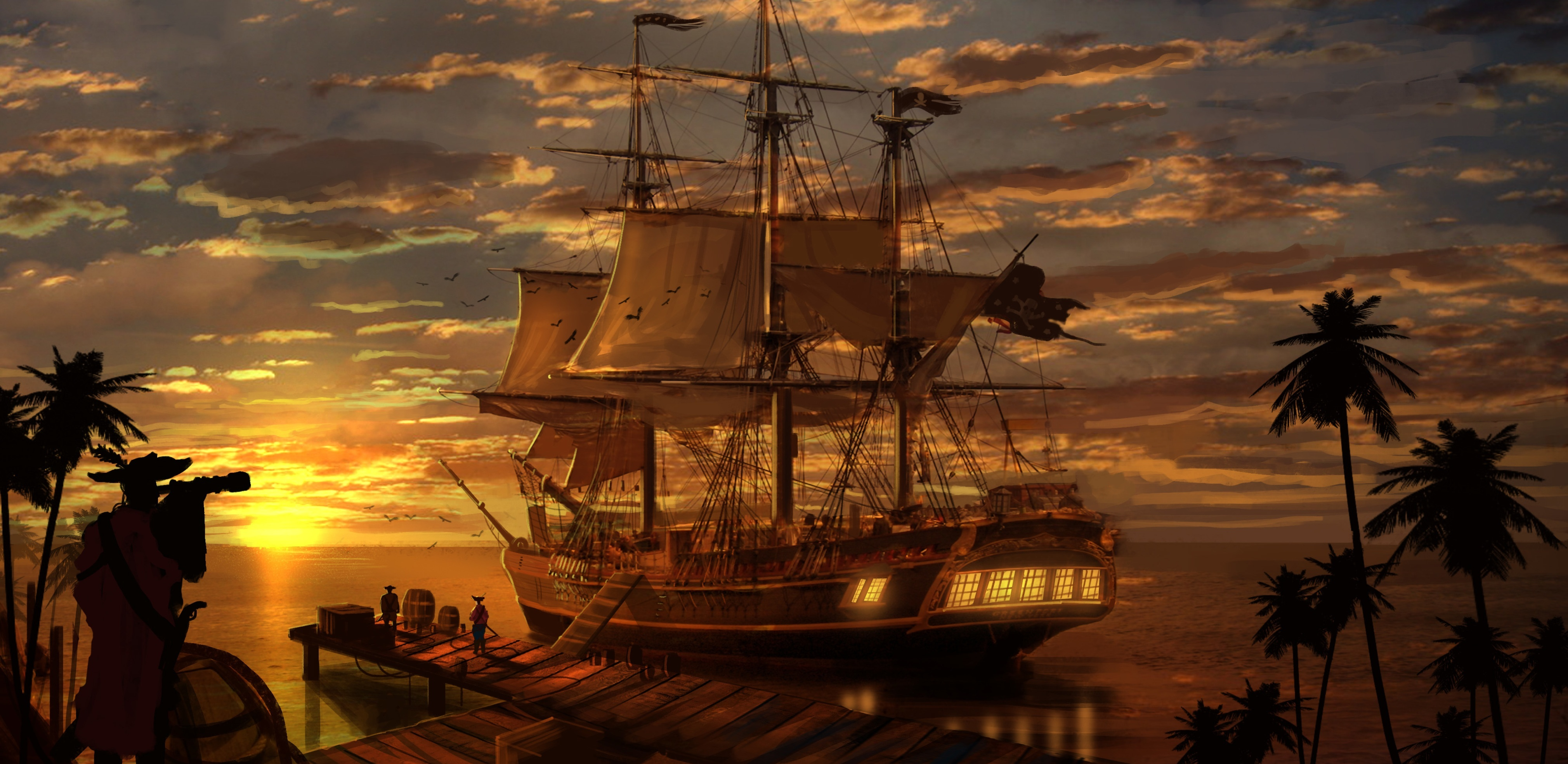 11 pirate ship hd wallpapers backgrounds wallpaper abyss - Pirate background ...