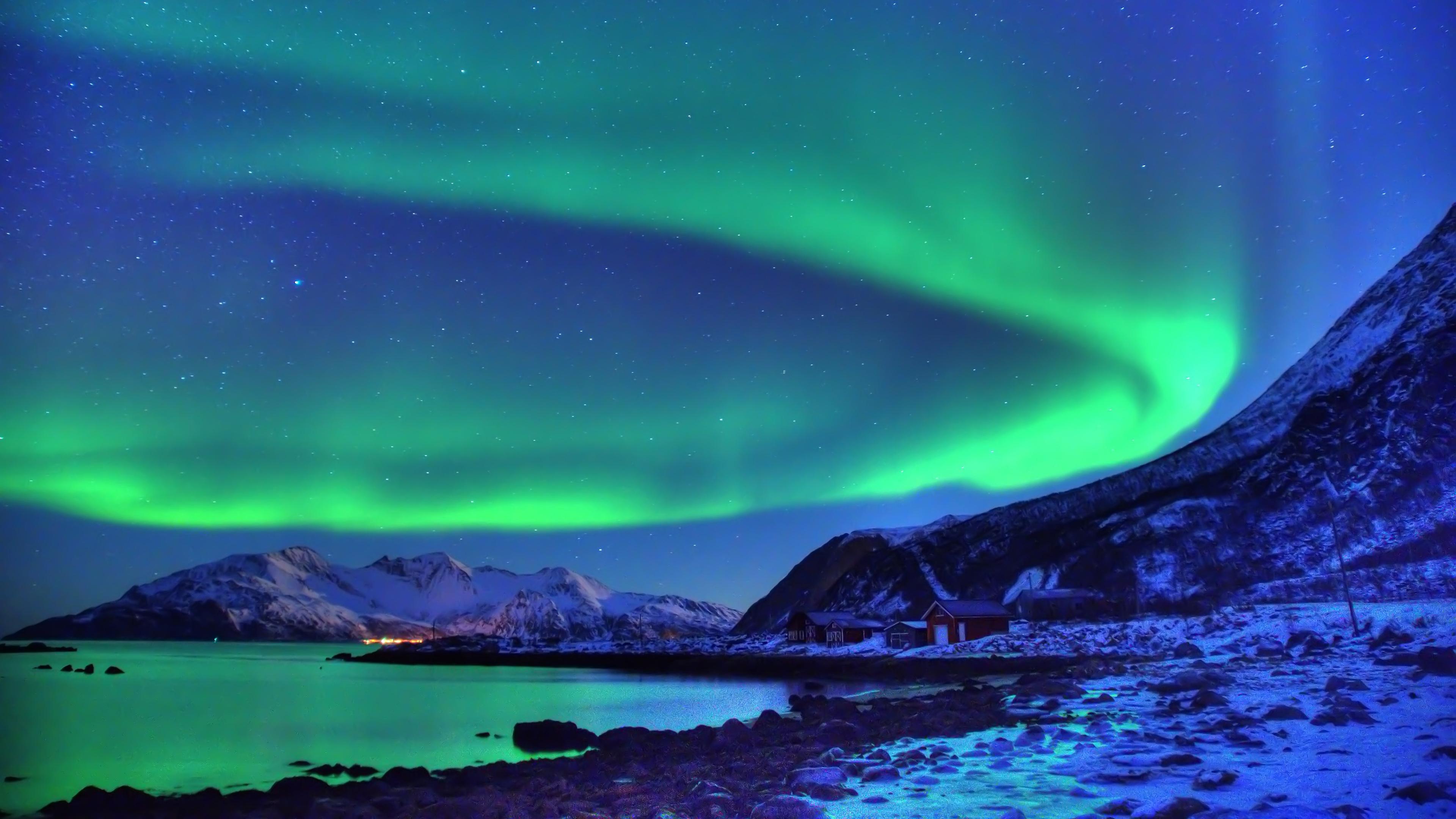 Terra natura aurora boreale snow night aurora sfondo for Sfondi desktop aurora boreale