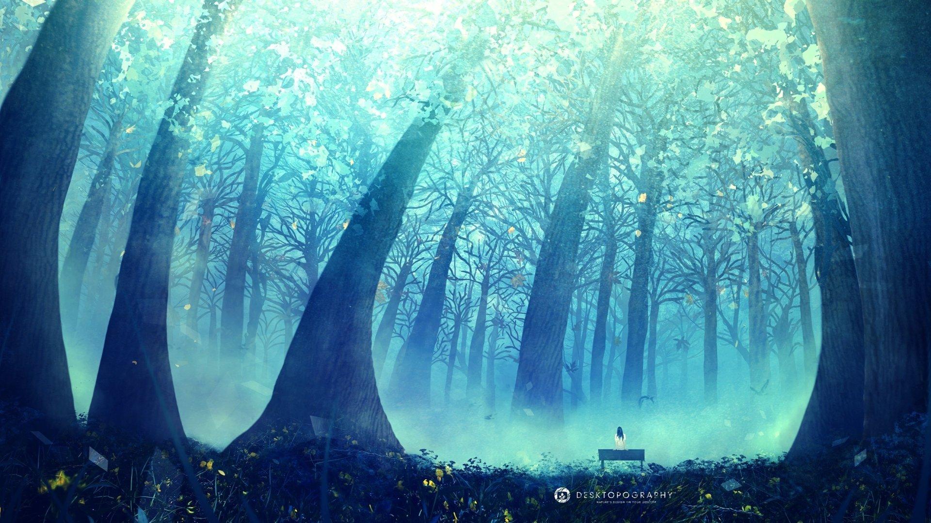 Anime - Original  Arbre Paysage Forêt Fond d'écran