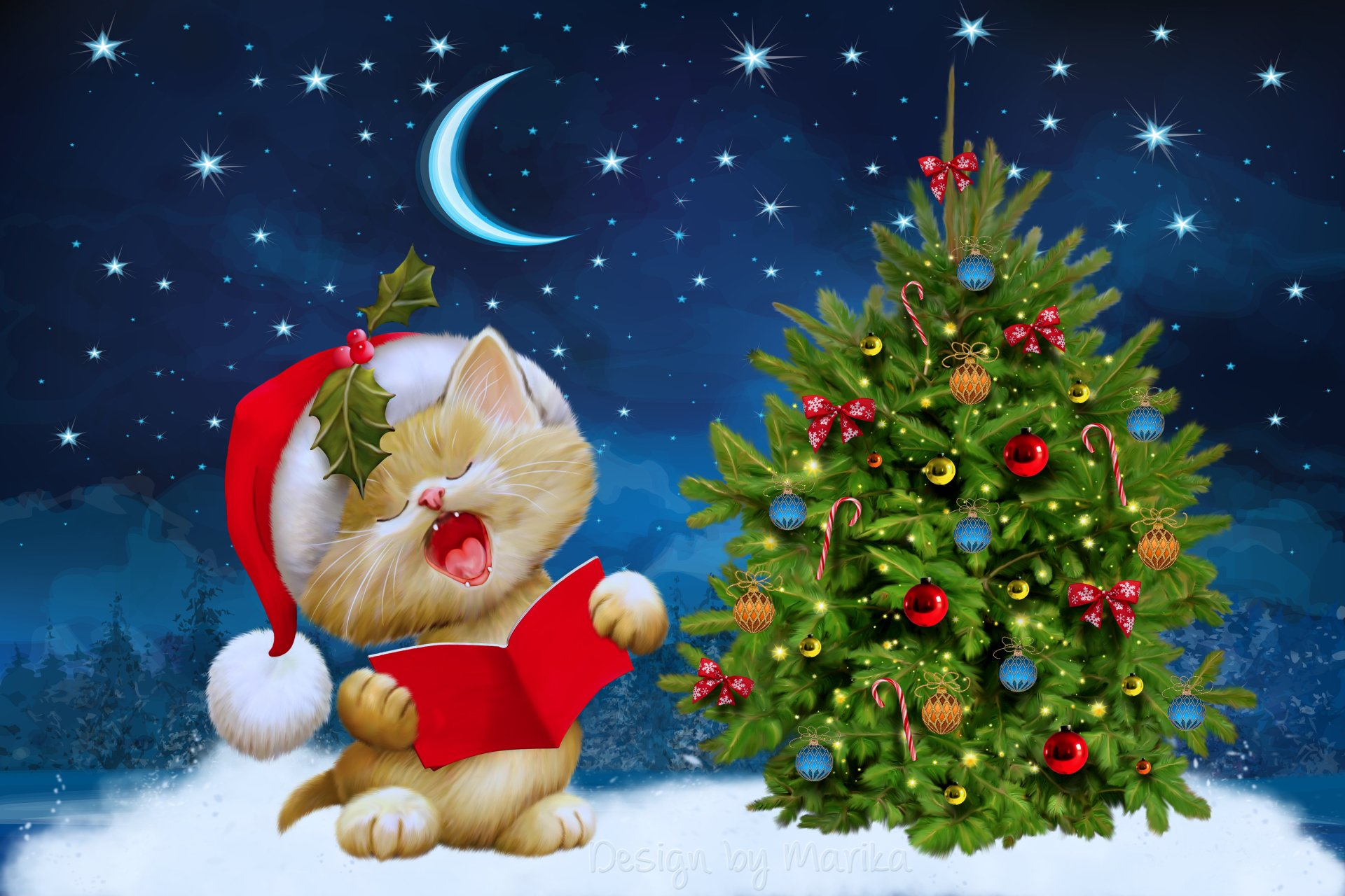 Holiday - Christmas  Christmas Tree Santa Hat Christmas Ornaments Cat Wallpaper