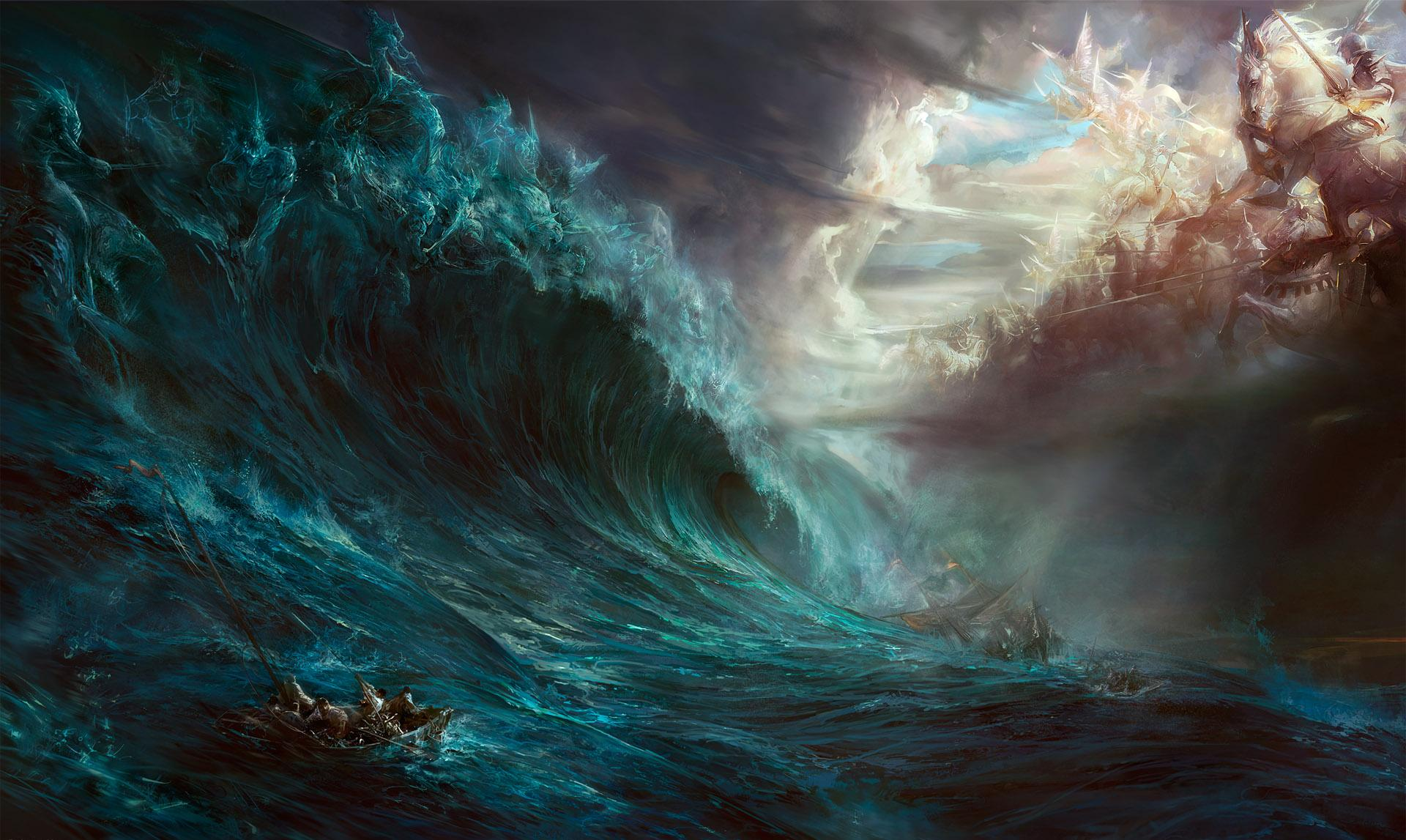 Fantasy - Gods  Rag Krig Wave Big Himmel Water Element Sinking Ship Bakgrund