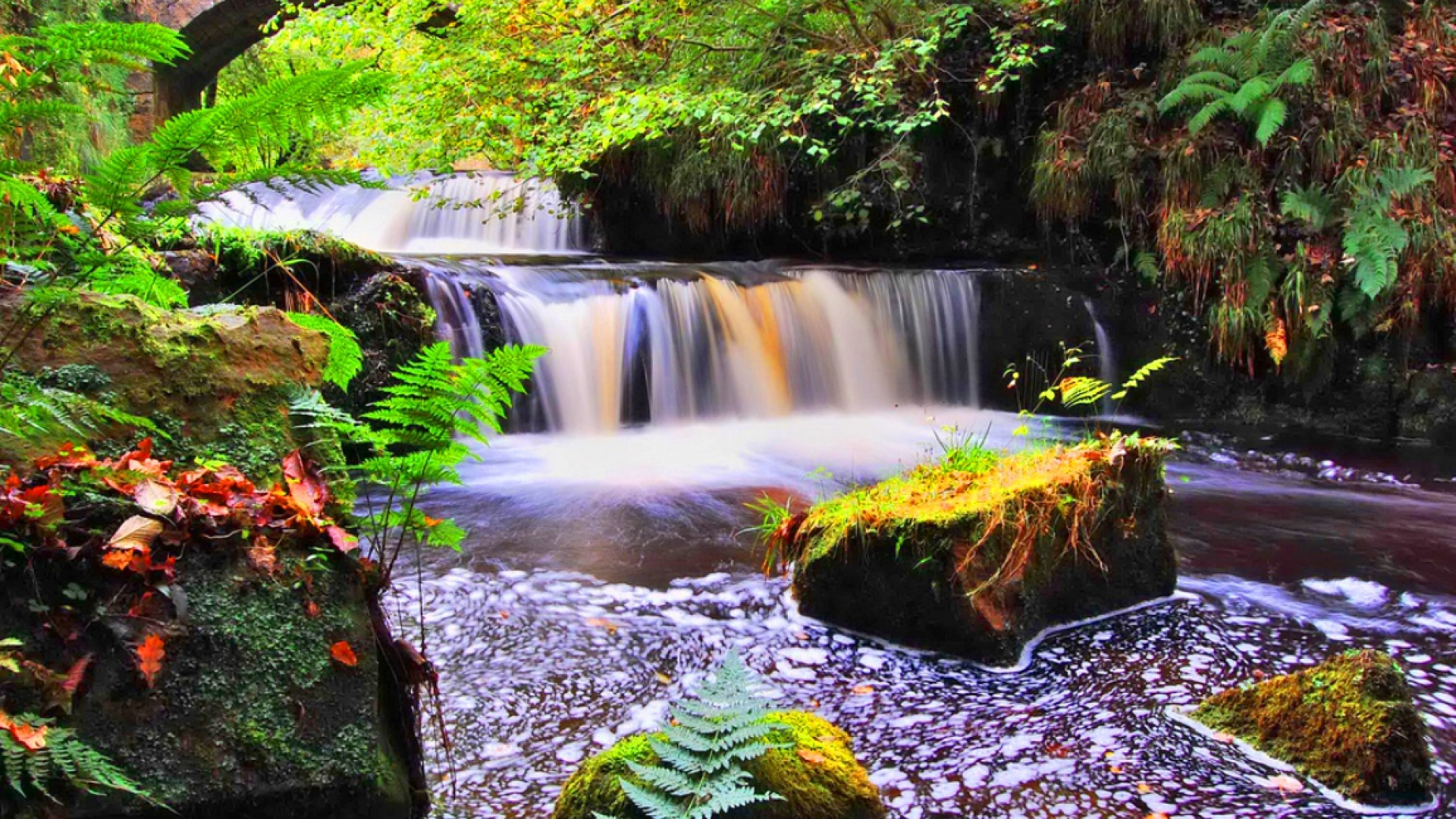 Colorful Waterfall Hd Wallpaper Background Image
