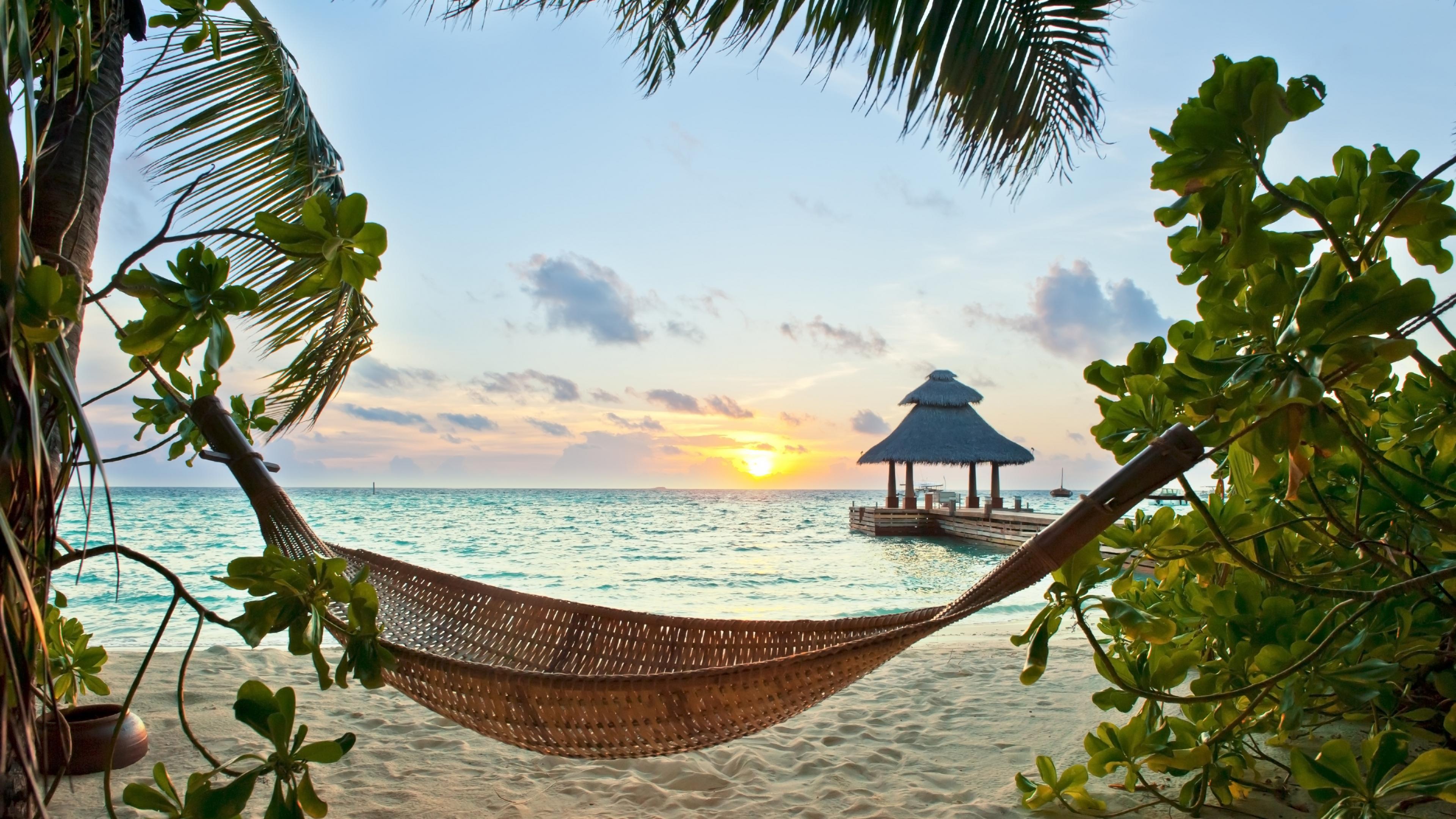 Construction Humaine Hammock Plage Coucher De Soleil Tropics Sea Fond ...